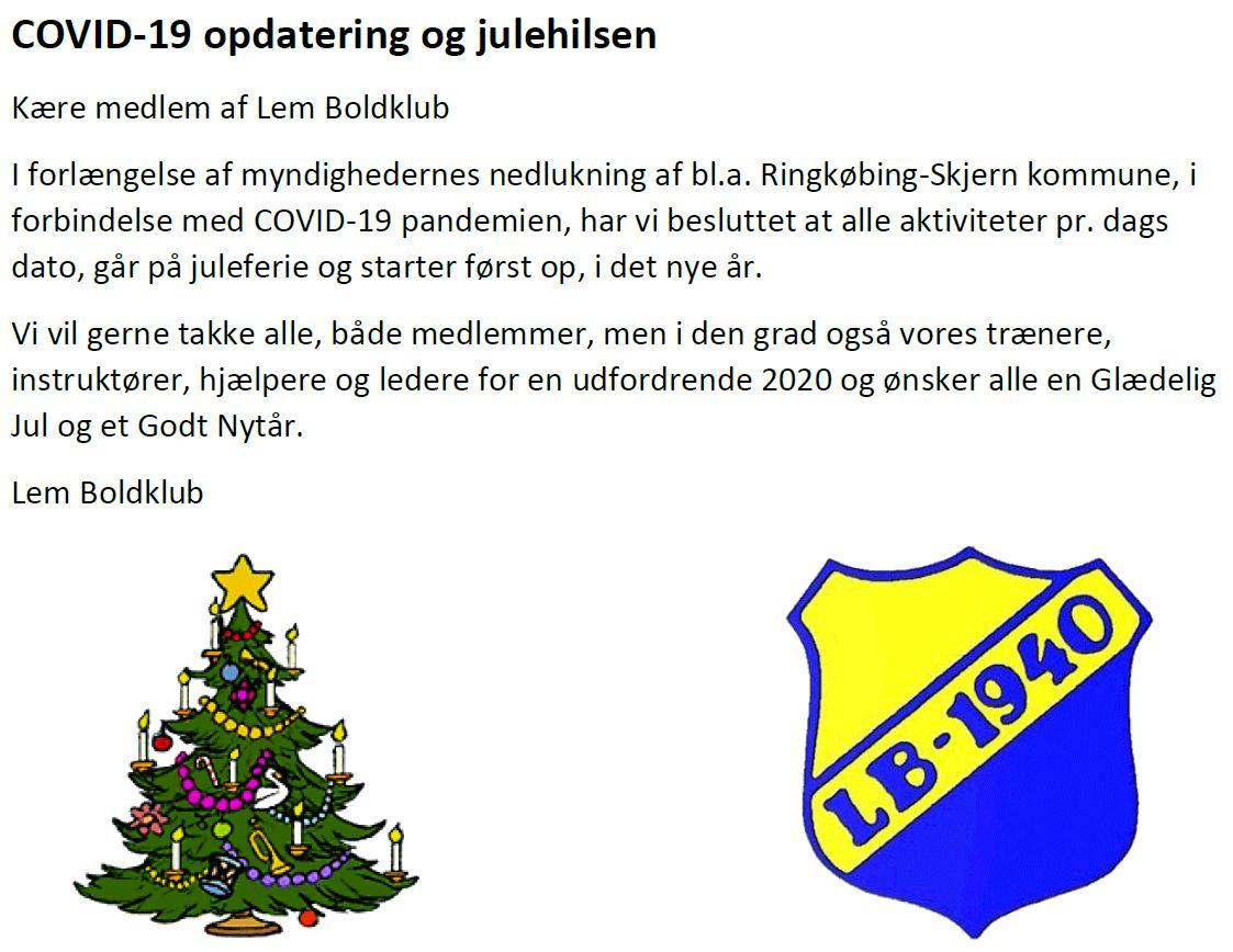 COVID-19 opdatering fra Lem Boldklub